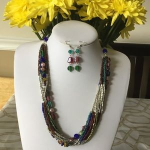 Multi strand multi color bead necklace earring set